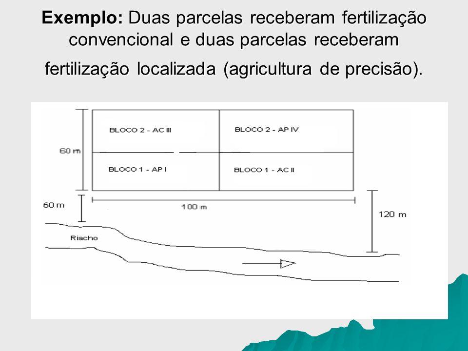 Exemplo: Duas parcelas receberam fertilização convencional e duas parcelas receberam fertilização localizada (agricultura de precisão).
