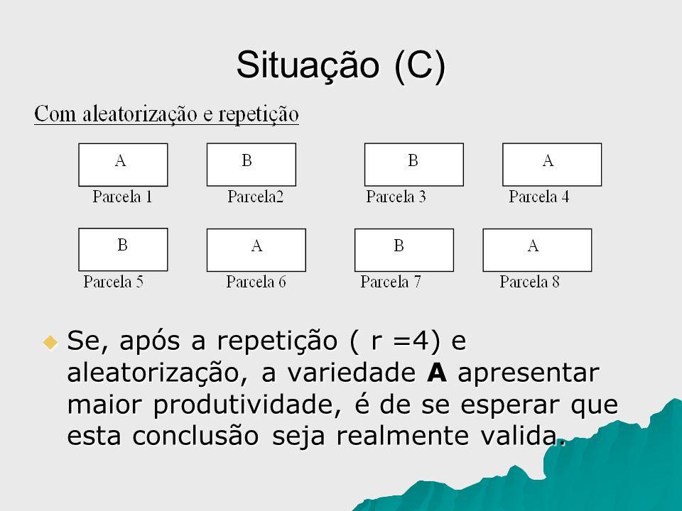 Situação (C) Se, após a repetição ( r =4) e aleatorização, a variedade A apresentar maior produtividade, é de se esperar que esta conclusão seja realm
