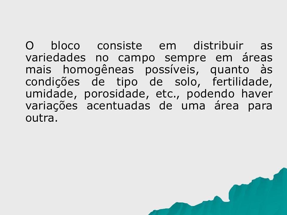 O bloco consiste em distribuir as variedades no campo sempre em áreas mais homogêneas possíveis, quanto às condições de tipo de solo, fertilidade, umi