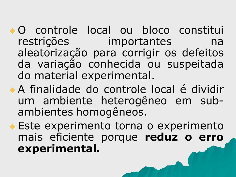 O controle local ou bloco constitui restrições importantes na aleatorização para corrigir os defeitos da variação conhecida ou suspeitada do material