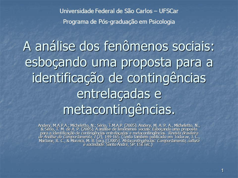 1 A análise dos fenômenos sociais: esboçando uma proposta para a identificação de contingências entrelaçadas e metacontingências. Andery, M.A.P.A.; Mi