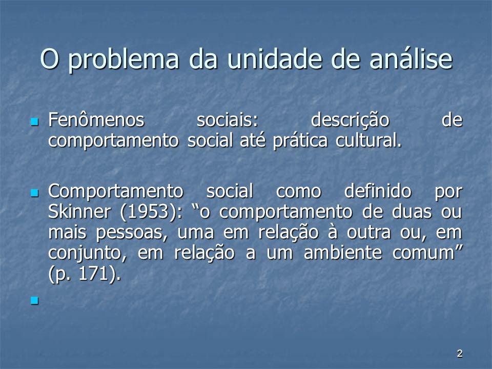 2 O problema da unidade de análise Fenômenos sociais: descrição de comportamento social até prática cultural. Fenômenos sociais: descrição de comporta