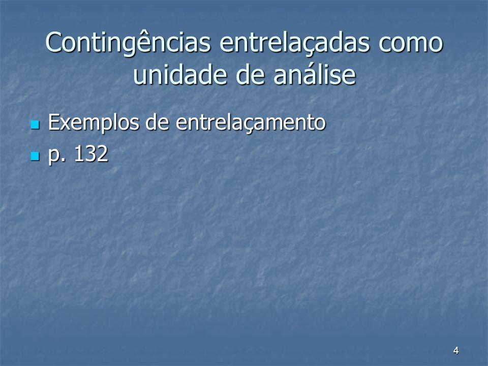 4 Contingências entrelaçadas como unidade de análise Exemplos de entrelaçamento Exemplos de entrelaçamento p. 132 p. 132