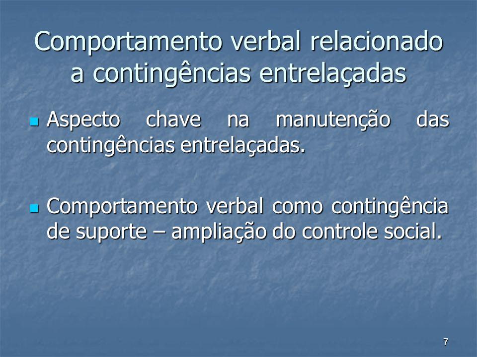 7 Comportamento verbal relacionado a contingências entrelaçadas Aspecto chave na manutenção das contingências entrelaçadas. Aspecto chave na manutençã