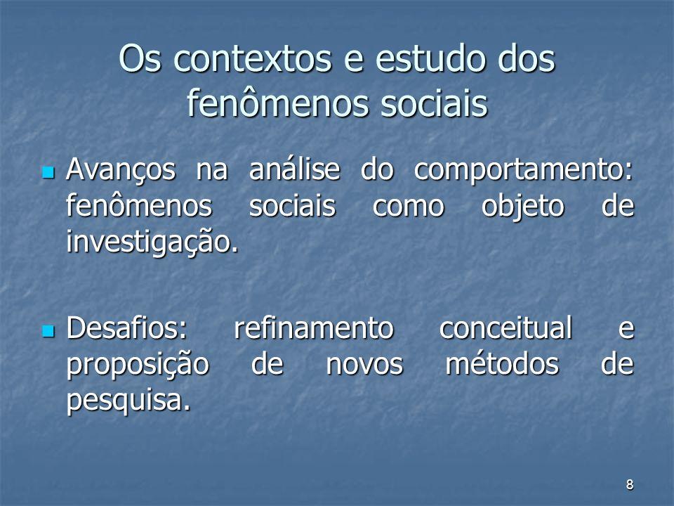8 Os contextos e estudo dos fenômenos sociais Avanços na análise do comportamento: fenômenos sociais como objeto de investigação. Avanços na análise d