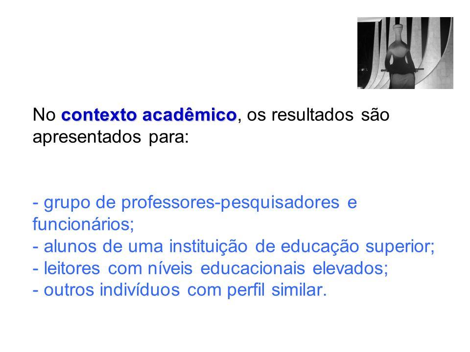 contexto acadêmico No contexto acadêmico, os resultados são apresentados para: - grupo de professores-pesquisadores e funcionários; - alunos de uma in