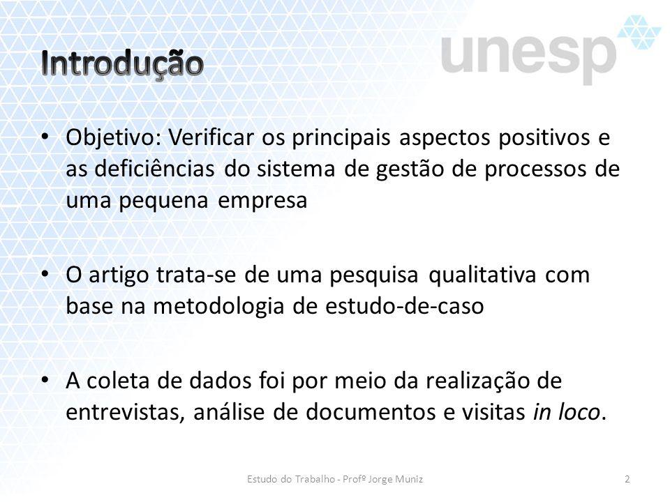 Objetivo: Verificar os principais aspectos positivos e as deficiências do sistema de gestão de processos de uma pequena empresa O artigo trata-se de u