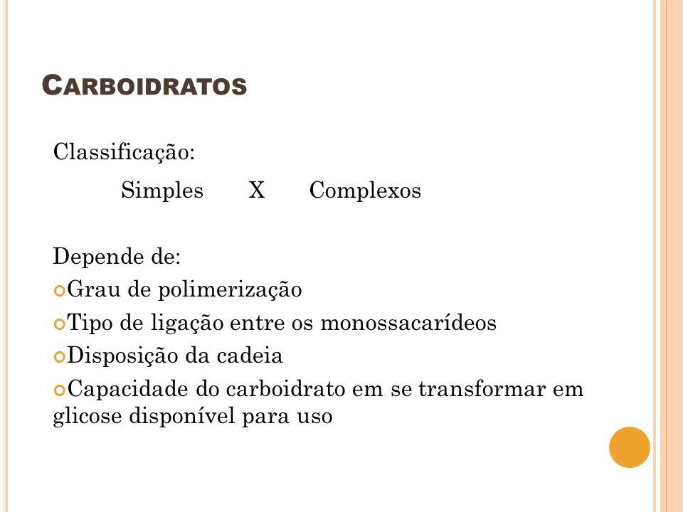 C ARBOIDRATOS Classificação: Simples X Complexos Depende de: Grau de polimerização Tipo de ligação entre os monossacarídeos Disposição da cadeia Capac