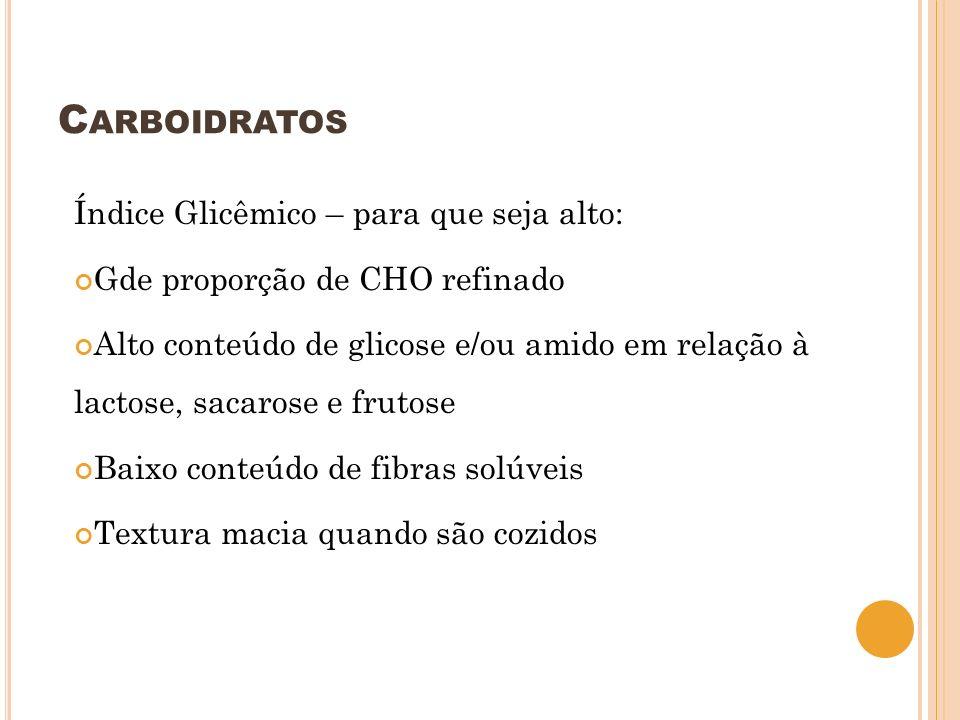 C ARBOIDRATOS Índice Glicêmico – para que seja alto: Gde proporção de CHO refinado Alto conteúdo de glicose e/ou amido em relação à lactose, sacarose