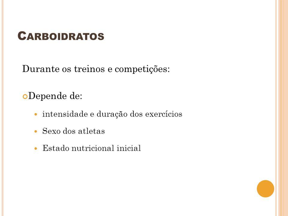 C ARBOIDRATOS Durante os treinos e competições: Depende de: intensidade e duração dos exercícios Sexo dos atletas Estado nutricional inicial