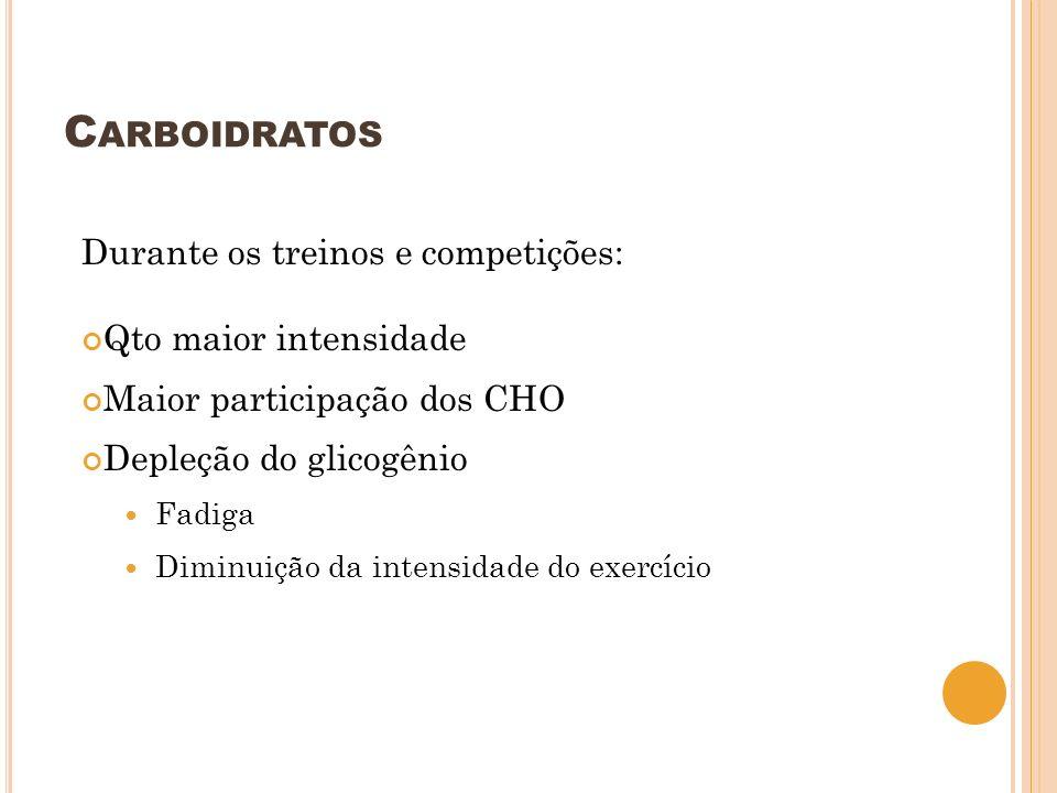 C ARBOIDRATOS Durante os treinos e competições: Qto maior intensidade Maior participação dos CHO Depleção do glicogênio Fadiga Diminuição da intensida