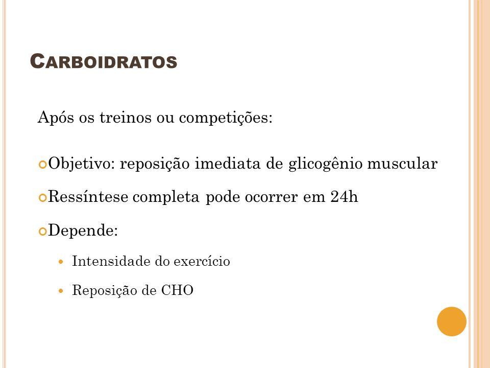 C ARBOIDRATOS Após os treinos ou competições: Objetivo: reposição imediata de glicogênio muscular Ressíntese completa pode ocorrer em 24h Depende: Int