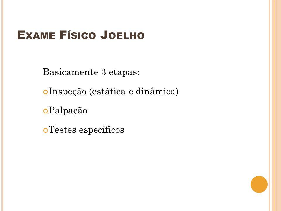 E XAME F ÍSICO J OELHO Basicamente 3 etapas: Inspeção (estática e dinâmica) Palpação Testes específicos
