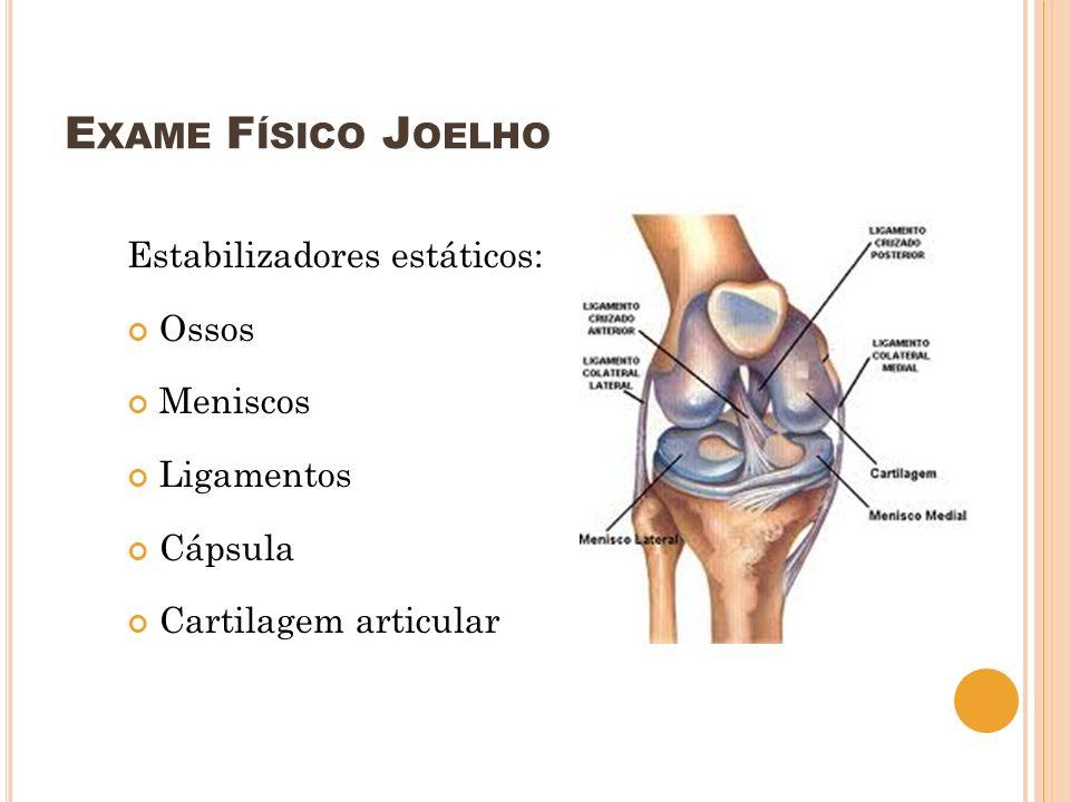 E XAME F ÍSICO J OELHO Inspeção Estática – Avaliar: Simetrias (ombro, escápula, musculaturas,…) Trofia dos músculos Presença de escoliose Simetria de MMII, patela (ângulo Q) Geno valgo, geno varo Presença de edema, eritema, cicatriz (cx prévia) Pisada – pé pronado, supinado