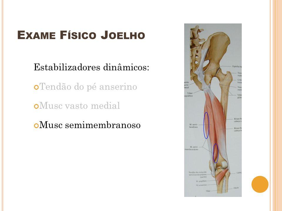 E XAME F ÍSICO J OELHO Estabilizadores dinâmicos: Tendão do pé anserino Musc vasto medial Musc semimembranoso Durante os 20 primeiros graus da flexão Após 20 graus estabilizadores estáticos