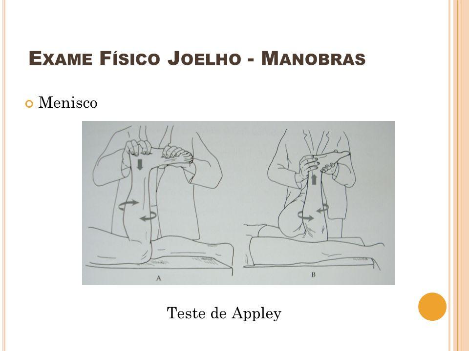 E XAME F ÍSICO J OELHO - M ANOBRAS Menisco Teste de Appley