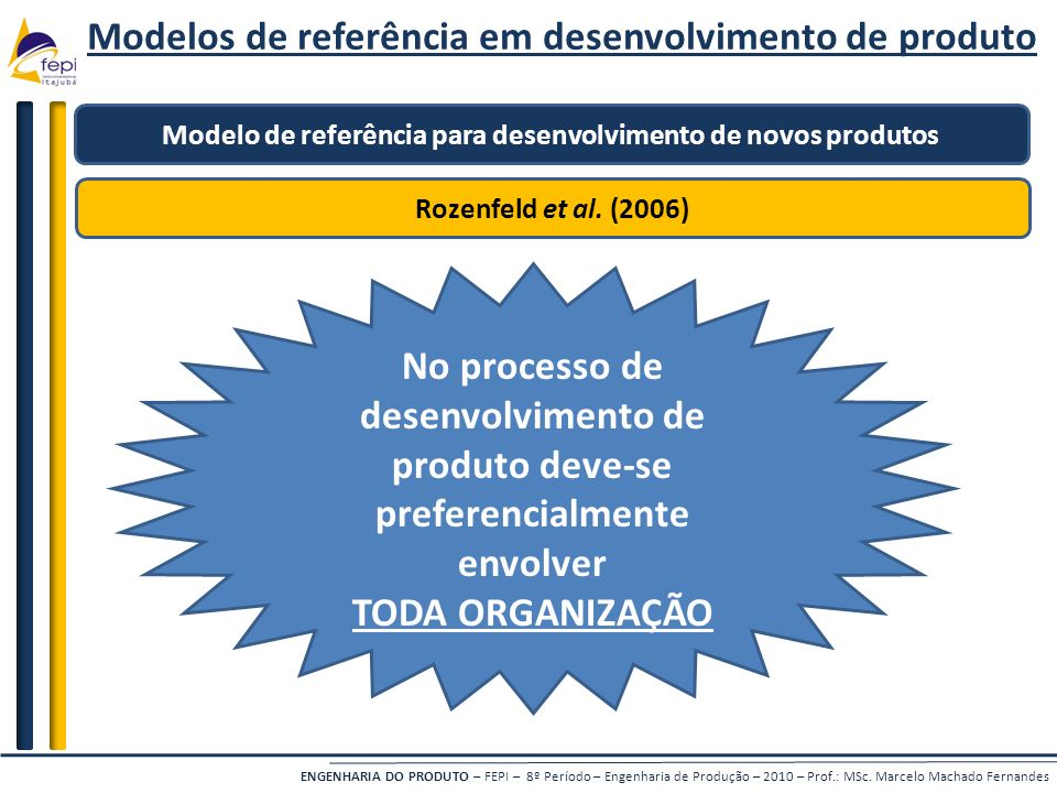 ENGENHARIA DO PRODUTO – FEPI – 8º Período – Engenharia de Produção – 2010 – Prof.: MSc. Marcelo Machado Fernandes Modelos de referência em desenvolvim