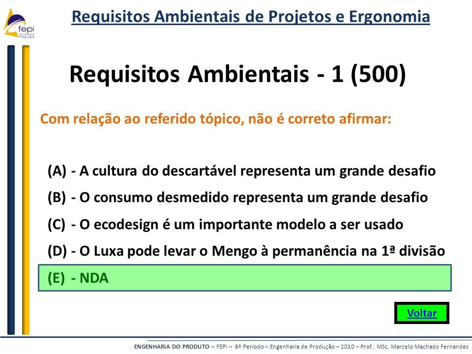 ENGENHARIA DO PRODUTO – FEPI – 8º Período – Engenharia de Produção – 2010 – Prof.: MSc. Marcelo Machado Fernandes Com relação ao referido tópico, não