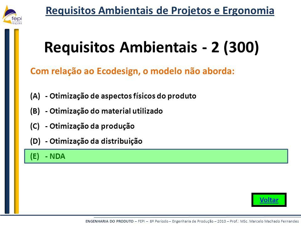 ENGENHARIA DO PRODUTO – FEPI – 8º Período – Engenharia de Produção – 2010 – Prof.: MSc. Marcelo Machado Fernandes Com relação ao Ecodesign, o modelo n