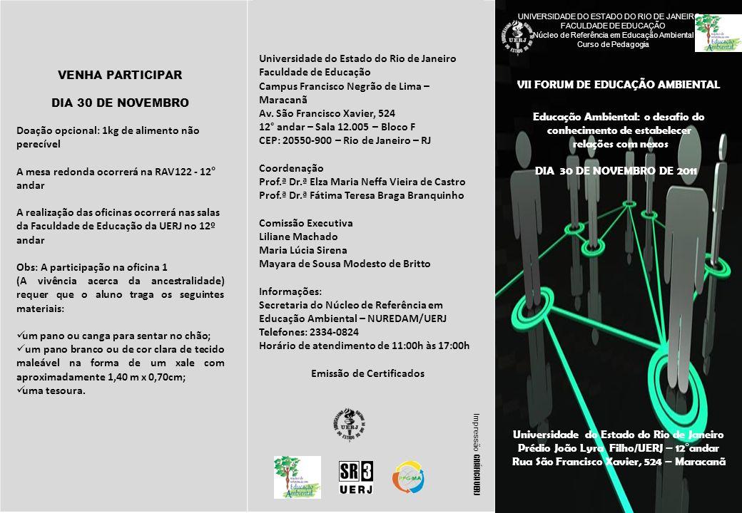 VII FORUM DE EDUCAÇÃO AMBIENTAL UNIVERSIDADE DO ESTADO DO RIO DE JANEIRO FACULDADE DE EDUCAÇÃO Núcleo de Referência em Educação Ambiental Curso de Ped