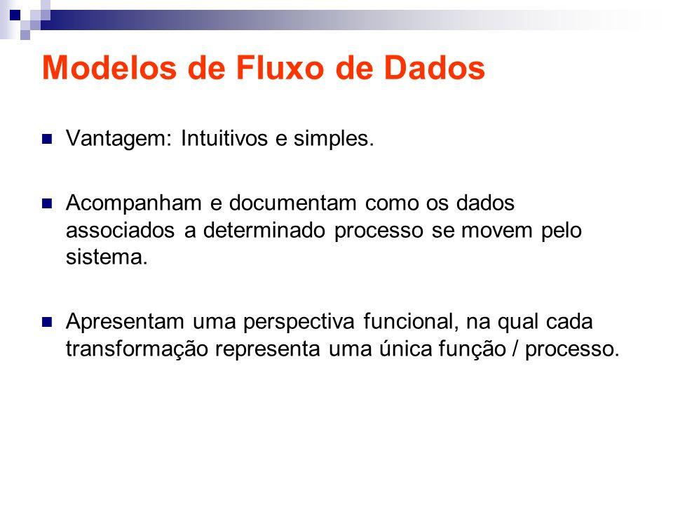 Modelos de Fluxo de Dados Vantagem: Intuitivos e simples. Acompanham e documentam como os dados associados a determinado processo se movem pelo sistem