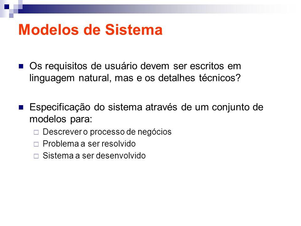 Modelos de Sistema Os requisitos de usuário devem ser escritos em linguagem natural, mas e os detalhes técnicos? Especificação do sistema através de u