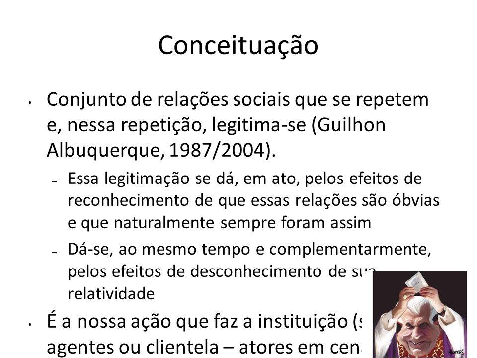 Conceituação Conjunto de relações sociais que se repetem e, nessa repetição, legitima-se (Guilhon Albuquerque, 1987/2004).