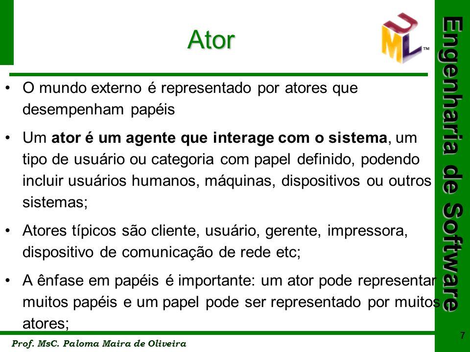 Engenharia de Software Prof. MsC. Paloma Maira de Oliveira 8 Ator Ator (forma de stick man)