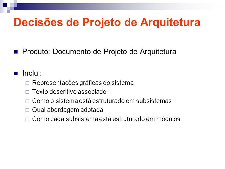 Decisões de Projeto de Arquitetura Produto: Documento de Projeto de Arquitetura Inclui: Representações gráficas do sistema Texto descritivo associado