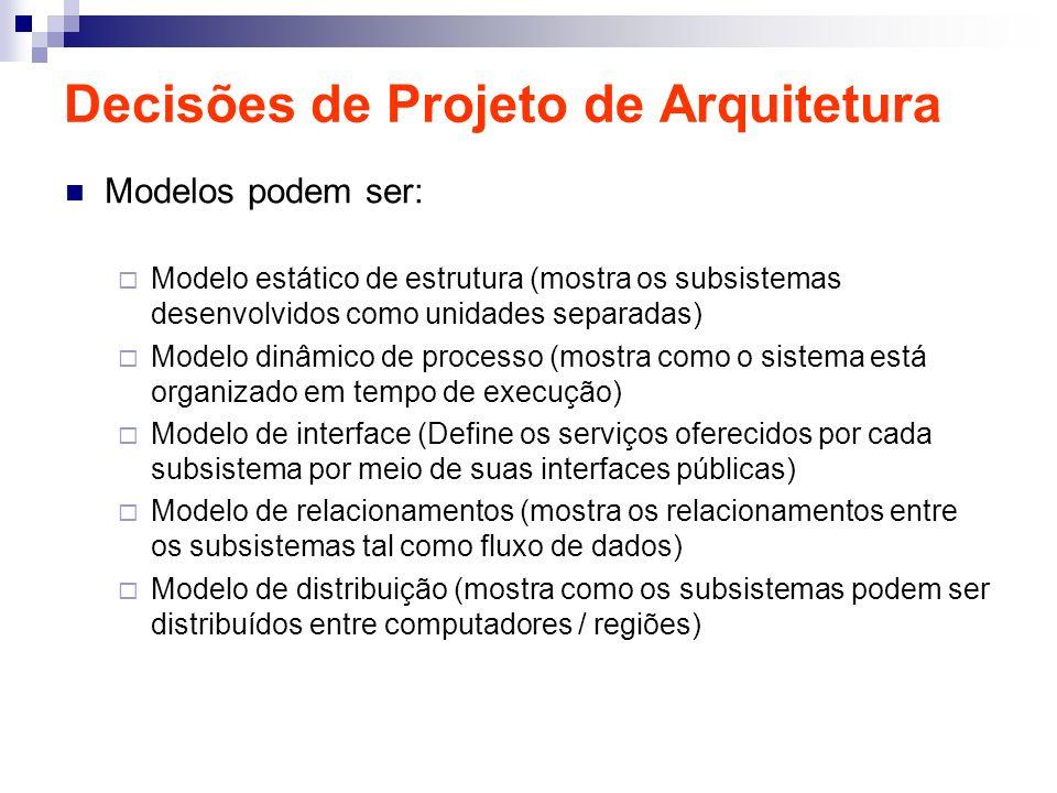 Decisões de Projeto de Arquitetura Modelos podem ser: Modelo estático de estrutura (mostra os subsistemas desenvolvidos como unidades separadas) Model
