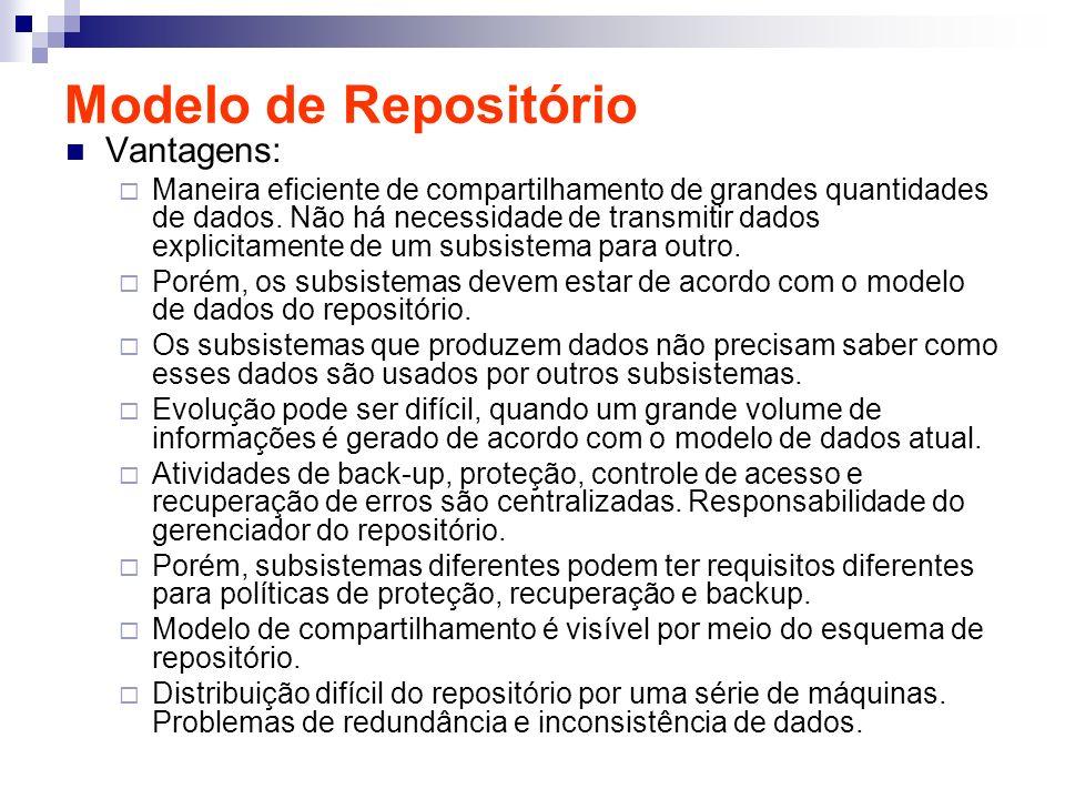 Modelo de Repositório Vantagens: Maneira eficiente de compartilhamento de grandes quantidades de dados. Não há necessidade de transmitir dados explici