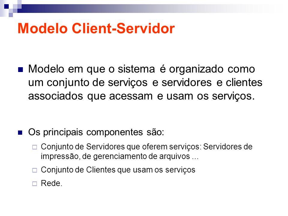Modelo Client-Servidor Modelo em que o sistema é organizado como um conjunto de serviços e servidores e clientes associados que acessam e usam os serv