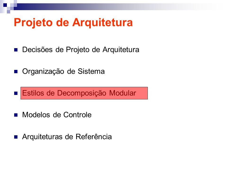 Projeto de Arquitetura Decisões de Projeto de Arquitetura Organização de Sistema Estilos de Decomposição Modular Modelos de Controle Arquiteturas de R