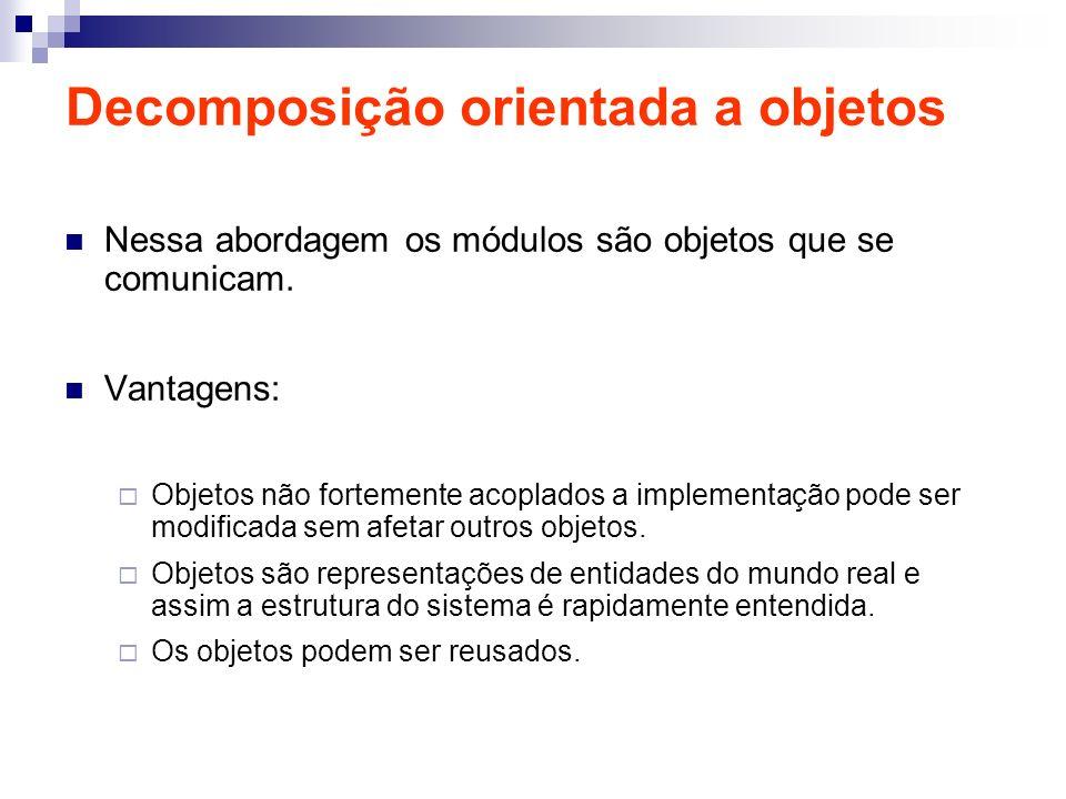 Decomposição orientada a objetos Nessa abordagem os módulos são objetos que se comunicam. Vantagens: Objetos não fortemente acoplados a implementação