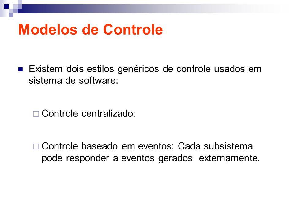 Modelos de Controle Existem dois estilos genéricos de controle usados em sistema de software: Controle centralizado: Controle baseado em eventos: Cada