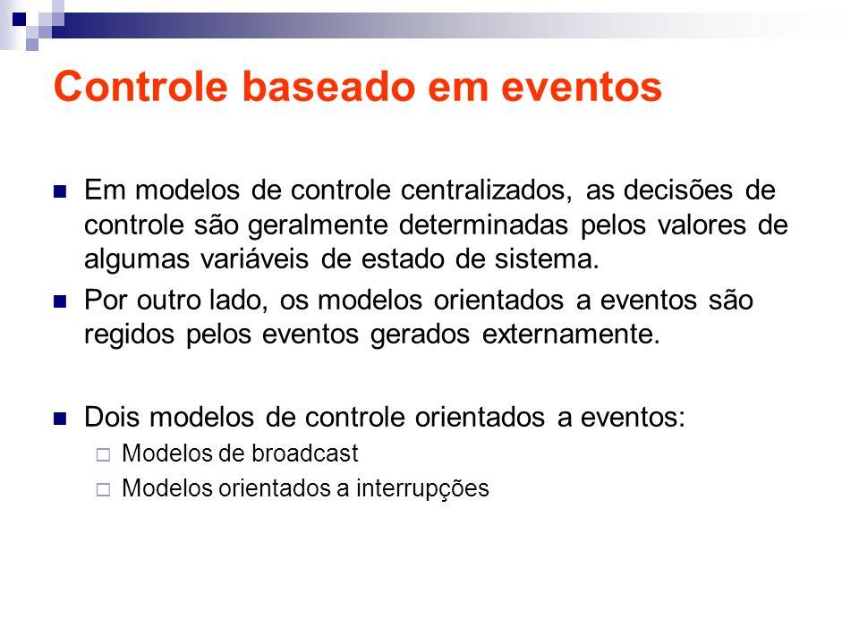 Controle baseado em eventos Em modelos de controle centralizados, as decisões de controle são geralmente determinadas pelos valores de algumas variáve