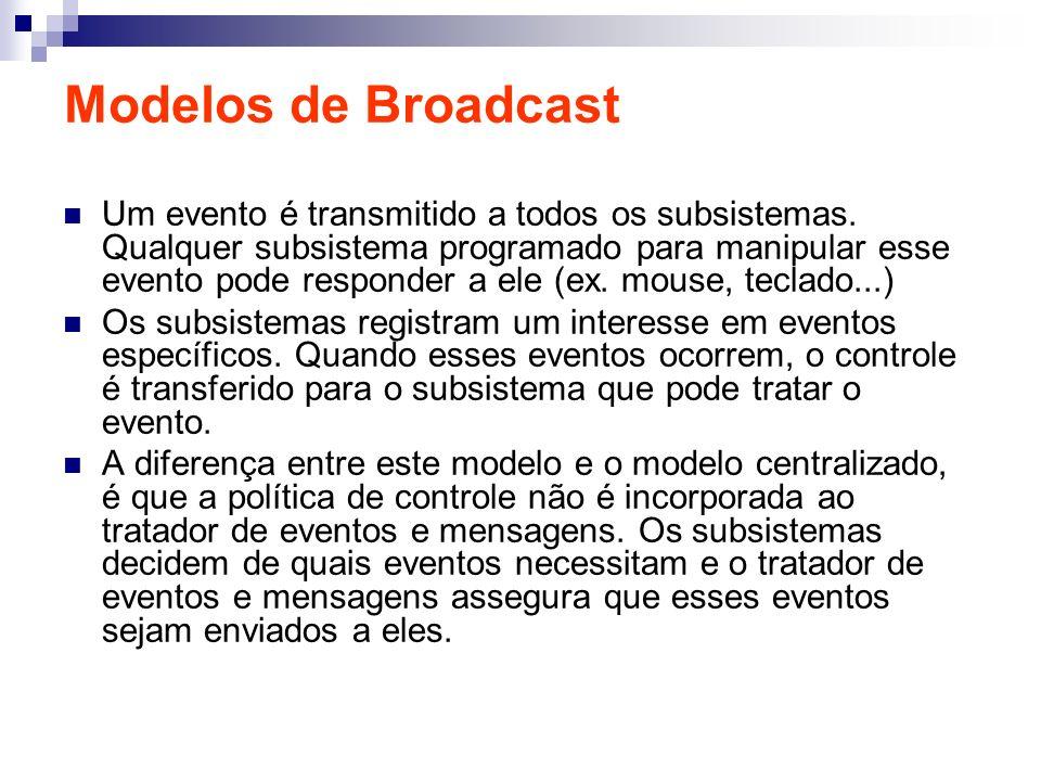 Modelos de Broadcast Um evento é transmitido a todos os subsistemas. Qualquer subsistema programado para manipular esse evento pode responder a ele (e