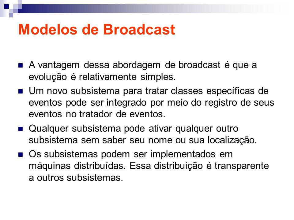 Modelos de Broadcast A vantagem dessa abordagem de broadcast é que a evolução é relativamente simples. Um novo subsistema para tratar classes específi