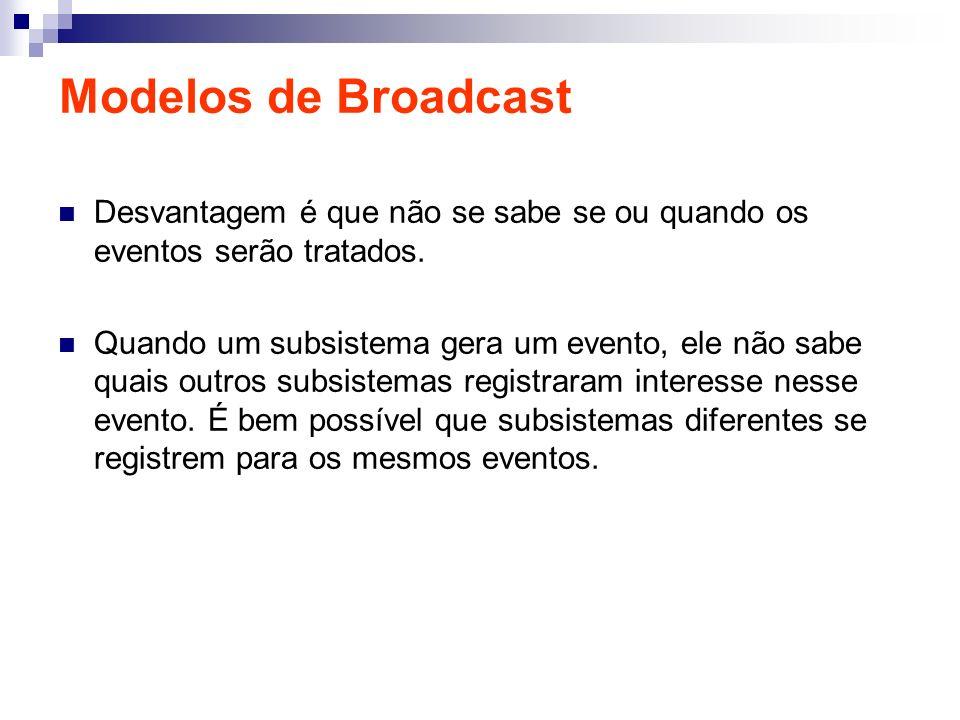 Modelos de Broadcast Desvantagem é que não se sabe se ou quando os eventos serão tratados. Quando um subsistema gera um evento, ele não sabe quais out