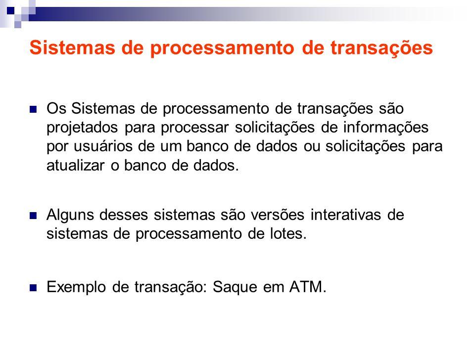 Sistemas de processamento de transações Os Sistemas de processamento de transações são projetados para processar solicitações de informações por usuár