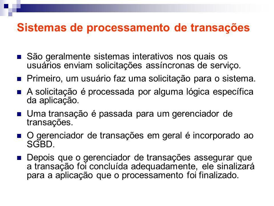 Sistemas de processamento de transações São geralmente sistemas interativos nos quais os usuários enviam solicitações assíncronas de serviço. Primeiro