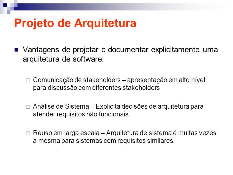 Projeto de Arquitetura Vantagens de projetar e documentar explicitamente uma arquitetura de software: Comunicação de stakeholders – apresentação em al