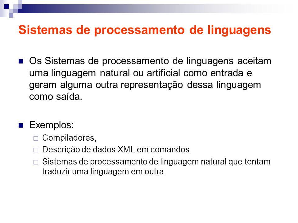 Sistemas de processamento de linguagens Os Sistemas de processamento de linguagens aceitam uma linguagem natural ou artificial como entrada e geram al