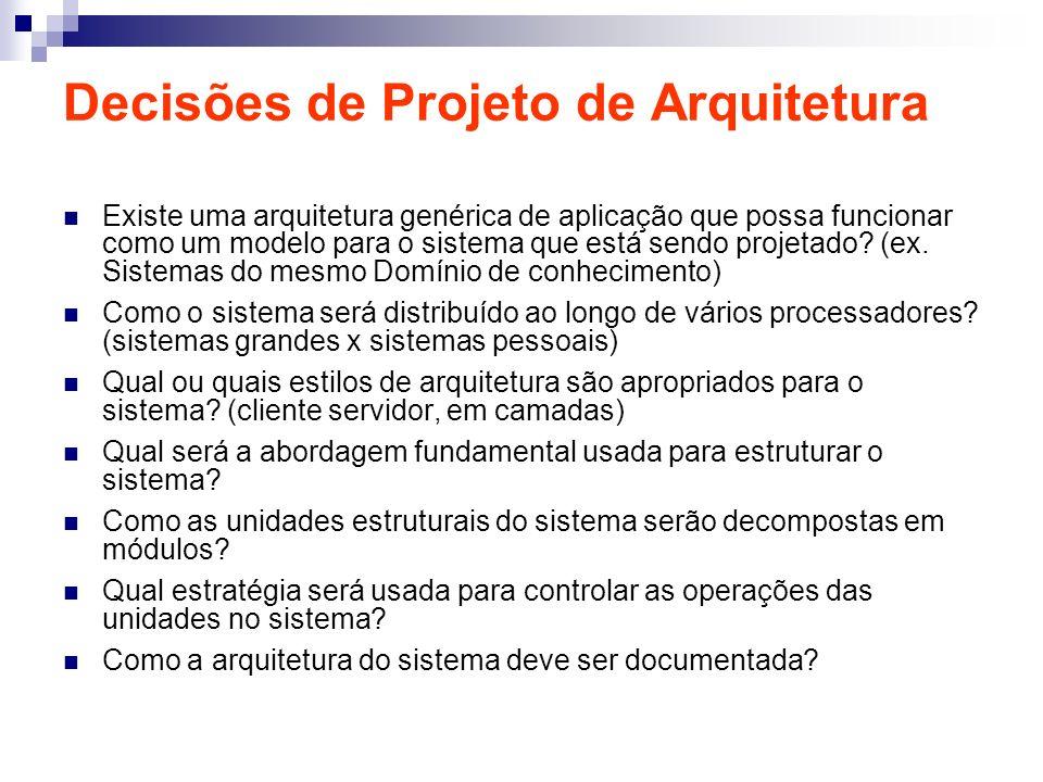 Decisões de Projeto de Arquitetura Existe uma arquitetura genérica de aplicação que possa funcionar como um modelo para o sistema que está sendo proje