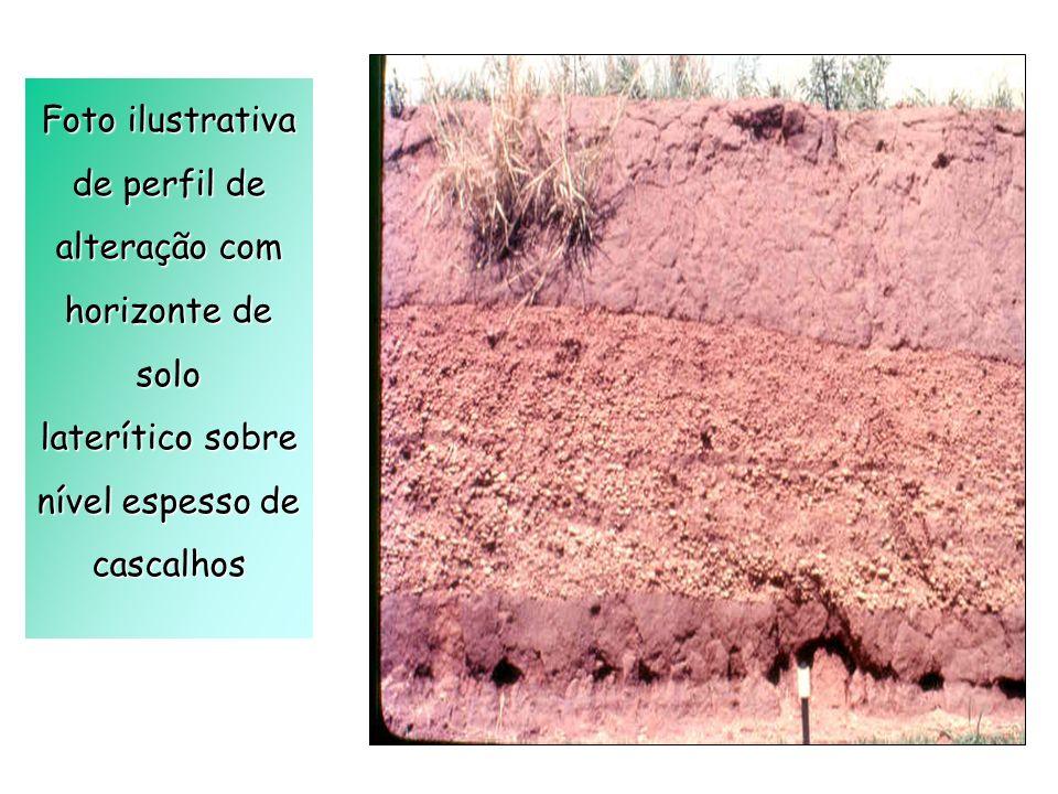 Foto ilustrativa de perfil de alteração com horizonte de solo laterítico sobre nível espesso de cascalhos