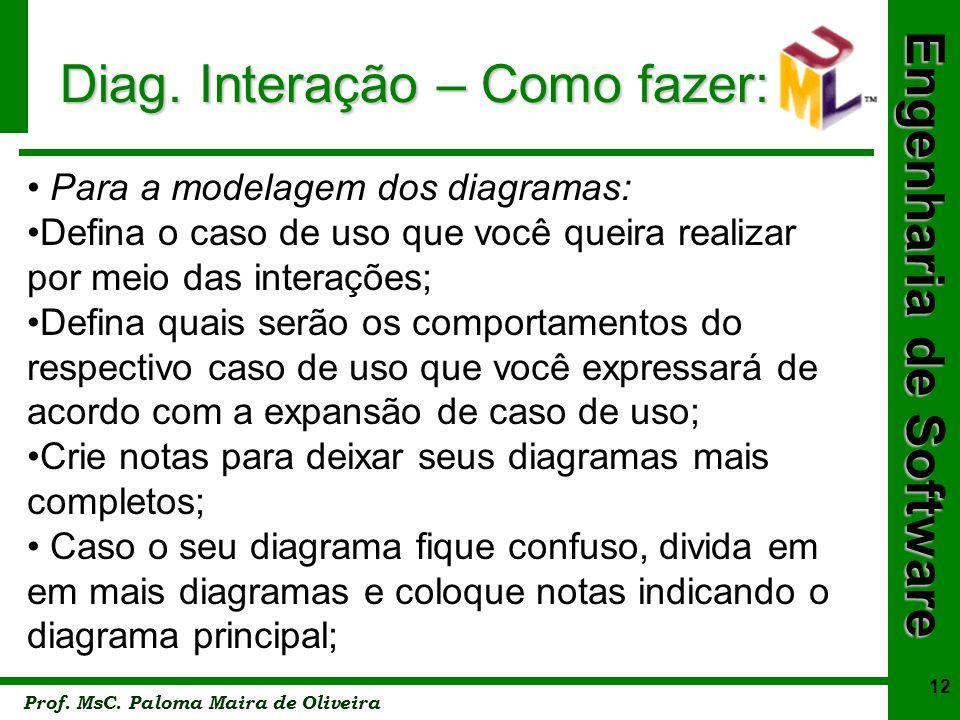 Engenharia de Software Prof. MsC. Paloma Maira de Oliveira 12 Diag. Interação – Como fazer: Para a modelagem dos diagramas: Defina o caso de uso que v