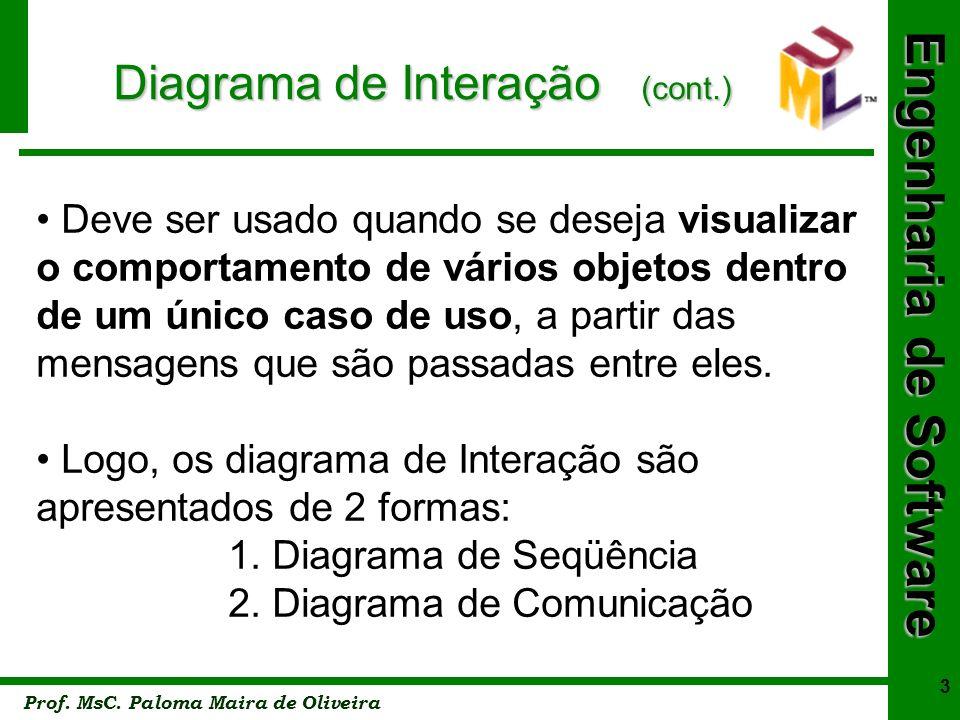 Engenharia de Software Prof. MsC. Paloma Maira de Oliveira 3 Diagrama de Interação (cont.) Deve ser usado quando se deseja visualizar o comportamento