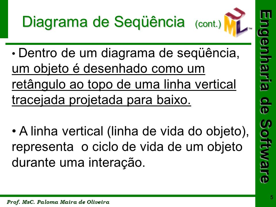 Engenharia de Software Prof. MsC. Paloma Maira de Oliveira 5 Diagrama de Seqüência (cont.) Dentro de um diagrama de seqüência, um objeto é desenhado c