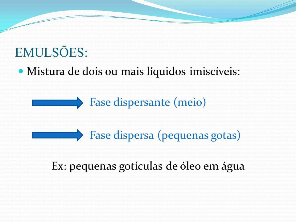 EMULSÕES: Mistura de dois ou mais líquidos imiscíveis: Fase dispersante (meio) Fase dispersa (pequenas gotas) Ex: pequenas gotículas de óleo em água