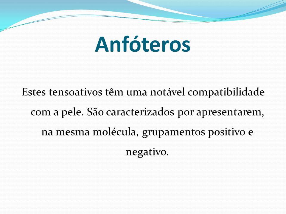 Anfóteros Estes tensoativos têm uma notável compatibilidade com a pele. São caracterizados por apresentarem, na mesma molécula, grupamentos positivo e